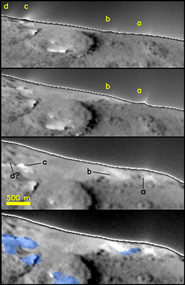 multipanel showing location of small surface jets near the limb of Tempel 1