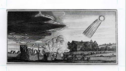 Woodcut showing destructive influence of a fourth century comet from Stanilaus Lubienietski's <i>Theatrum Cometicum</i> (Amsterdam, 1668) (scan of original and caption from Don Yeomans' Comets: A Chronological History of Observation, Science, Myth and Folklore. Used with permission.)