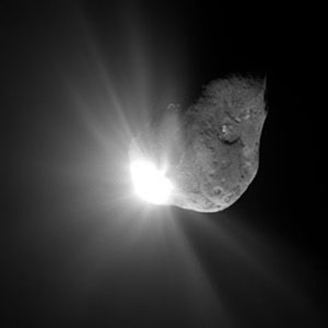 Comet Tempel 1 67 seconds after it obliterated Deep Impact's impactor spacecraft