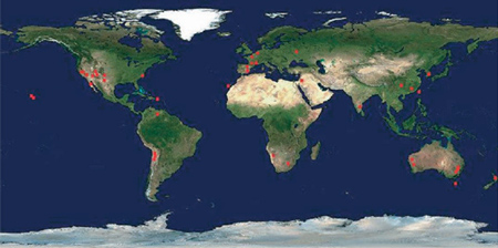 world map showing location of collaborating ground-based (professional) observers